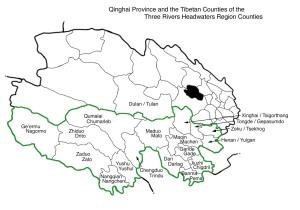 Sanjiangyuan county map in English