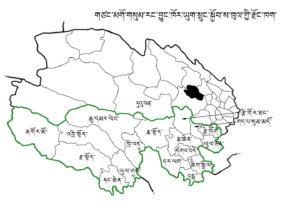 Sanjiangyuan map in Tibetan